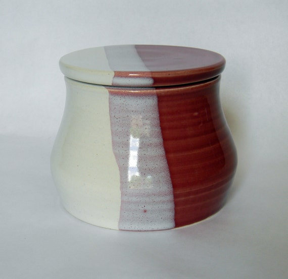 French Butter Jar in Cherry Red and White