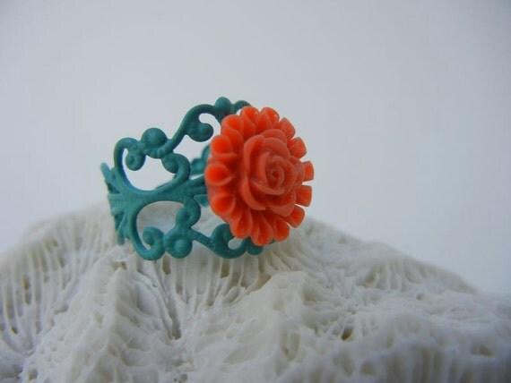 Miami Dolphins Coral Flower on Aqua Filigree Ring