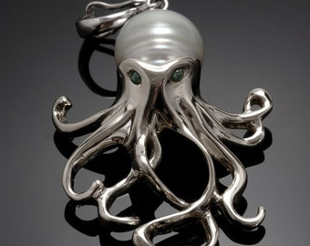 "Sterling silver ""Octopus"" pendant. With pearl body & gem eyes!"