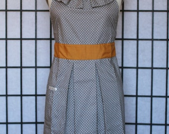 Apron Dress - Ruffle Neckline with Pleated Skirt in Grey and Polka Dots Pattern - style ONNA - FULLY LINED