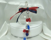 Red White and Blue Beaded Purse Charm