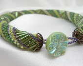 Green Russian Spiral Bracelet with Czech Glass Button Clasp