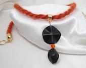 Cotswold Kumihimo Laramie Braid with Black and Swarovski Pendant
