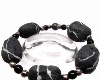 Polymer Stretch Bracelet in Black and Silver Faux Stone Marble