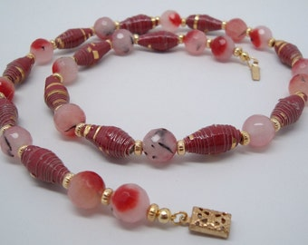 Red Agate Cherry Blossom Necklace
