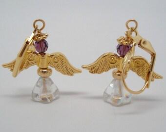 Purple and Gold Angel earrings