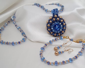 Blue and Gold Necklace Bracelet and Earrings