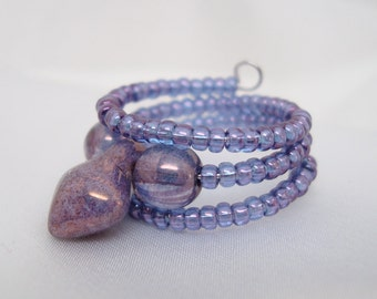Beaded Purple Memory Wire Ring