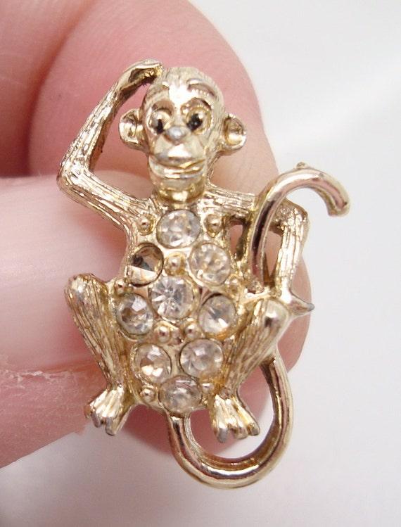 Goldtone Nemo Brand Monkey Brooch from 1955 Gold Monkey