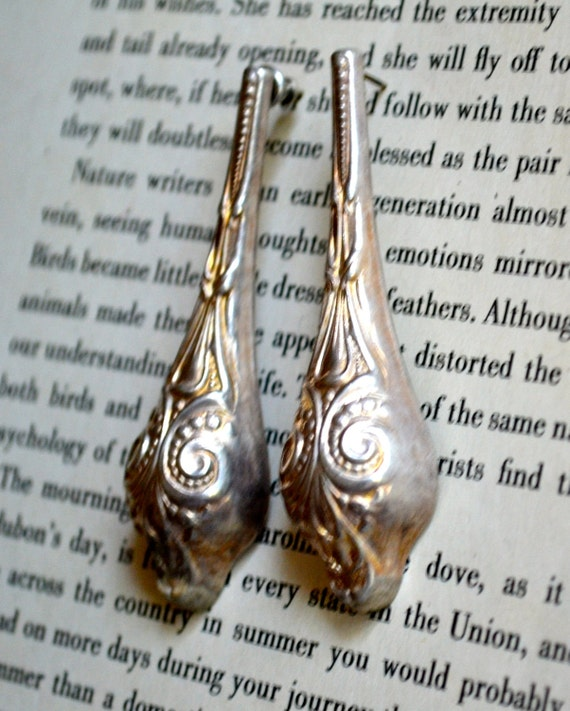 Vintage Art Nouveau Earrings, Shabby Chic Accessory, Free USA Shipping