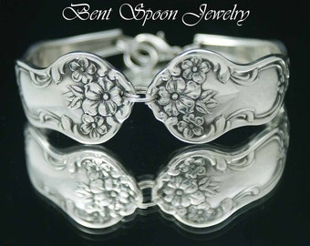 Bent Spoon Jewelry, Antique Daisy 1910 Ornate Wide Spoon Bracelet..Silverware Jewelry