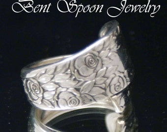 Silver Spoon Ring, Silverware Jewelry, Vintage Rose and Leaf 1937  Spoon Ring size 7