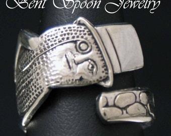 Spoon Ring, MR. PEANUT FUN  Novelty Spoon Ring  Silverware Jewelry, Size 8 Bent Spoon Jewelry