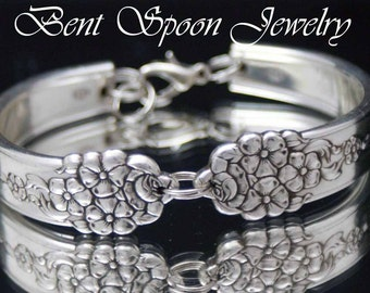 Spoon Bracelet, Silverware Bracelet, Silverware Jewelry, Spoon Jewelry, Bridesmaids Gift, Vintage Wedding, Shabby Chic - 1949 MOSS ROSE