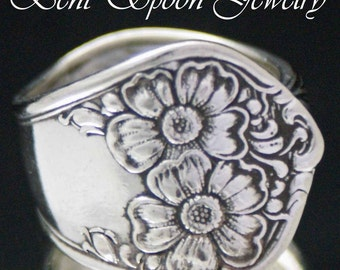 Spoon Jewelry Large Ornate Flower 1906  Spoon Ring size 10 Bent Spoon Jewelry