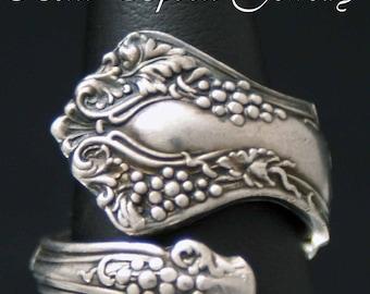 Vintage  Grape Design 1904 Dainty Silverware Spoon Ring size 5.5 Bent Spoon Jewelry