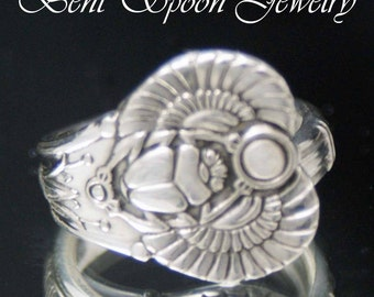 Spoon Ring, Antique Egyptian Scarab Beetle 1909 upcycled Vintage Size 8 Spoon Ring