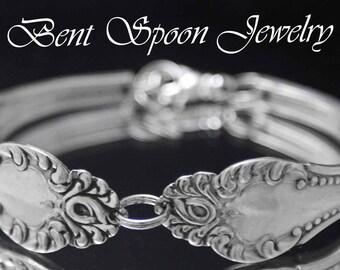 Spoon Bracelet, Silverware Jewelry, Antique CARLTON 1898 Beaded Scroll Silver Spoon Bracelet