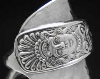Spoon Ring,  Antique Rare Assyrian Head 1886 Whole Spoon Ring, Silverware Jewelry, size 9