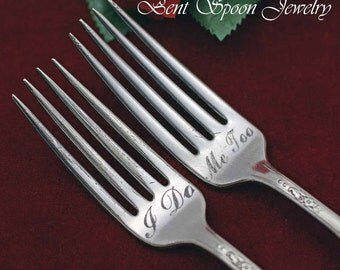 I Do .. Me Too, Mr...Mrs., Vintage Wedding Cake, Dessert Forks, Queen Bess 1946, Bride and Groom, Personalized Wedding Cake Forks