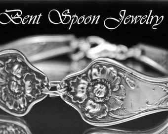Spoon Bracelet, Spoon Jewelry, Silverware Jewelry, Silverware Bracelet, Vintage Wedding, Antique Bracelet, 1914 POPPY