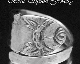 Spoon Ring Vintage Swedish Carved Rose Floral Spoon Ring, Spoon Jewelry, Silverware Jewelry