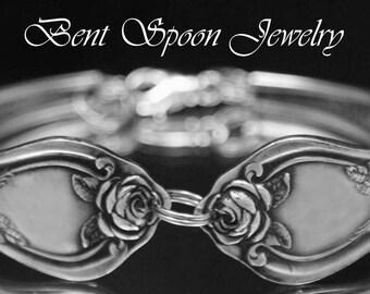 Spoon Bracelet, Spoon Jewelry, Rose 1903,  Cuff Spoon Bracelet, Silverware Jewelry