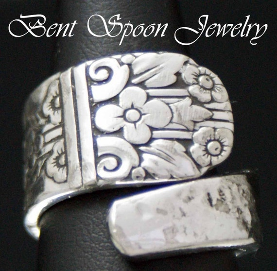 Spoon Ring, Vintage Margate upcycled Silverware Spoon Ring size 7, Silverware Jewelry