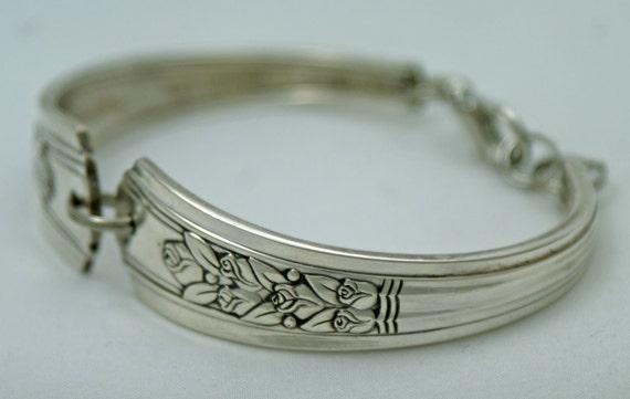 Silver Spoon Bracelet - Vintage Rosalie 1938 Ornate Spoon Bracelet..Silverware Jewelry