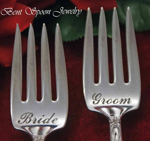 Vintage Wedding, Bride and Groom  Narcissus 1935  Wedding Cake Forks with LUCKY Penny