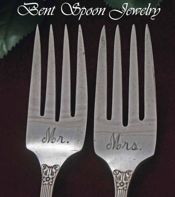 I Do .. Me Too, Mr...Mrs., Vintage Wedding Cake, Dessert Forks, Lido 1938, Bride and Groom, Personalized Wedding Cake Forks