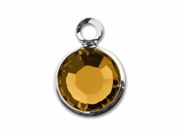 Swarovski Crystal Element Birthstone Add on - November - Topaz  -   Spoon  Bracelet