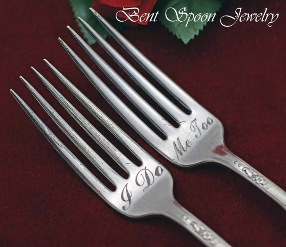 I Do ..Me Too, Vintage Wedding Cake Forks...Vintage Queen Bess 1946 Silverware for the Bride and Groom