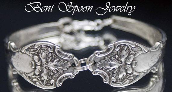 Silver Spoon Jewelry, Antique Charter Oak 1906 Ornate Spoon Bracelet..Silverware Jewelry