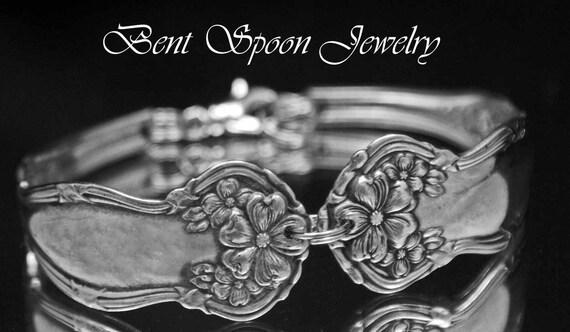 Vintage Silverware, Spoon Bracelet, Antique Arbutus 1908 Ornate Spoon Bracelet..Silverware Jewelry