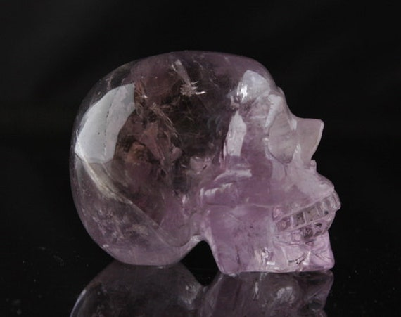 FINE Natural Amethyst Carved Quartz Crystal Skull
