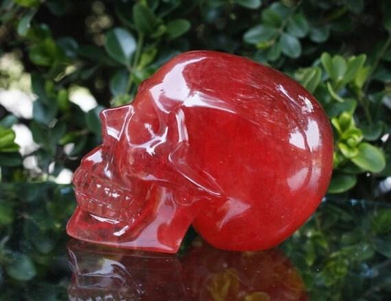 """BRILLIANT 3.5"""" Smelted Quartz Carved Crystal Skull 12.17 OZ Healing"""