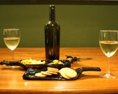 Recycled Wine Bottle Spoon Rest, Cheese & Cracker display or Bread and dip holder Set of two