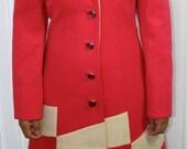 60's 2 Piece Pink & Cream Colour Block Dress Suit
