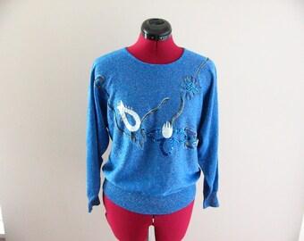 80's Metallic Blue Sequin Bat Wing Sweater