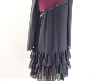 80's Black Flapper Evening Dress with Ruffled Skirt