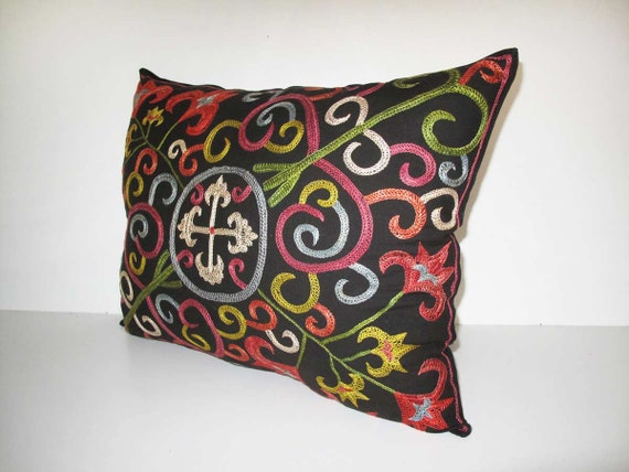"SALE Pillow Cover Nomad Kirgiz pattern silk suzani Pillow Cover 19.5""x29"" inch shipp from US"