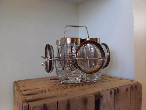 set of 4-vintage kimiko silver tone bar glasses with 4 coasters-also includes 3 extra glasses