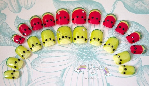 Summer Red Watermelon and Yellow Kiwi French Tip Art Nails