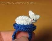 Unique crocheted SLEEPING KITTY ring