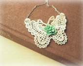 Lovely Lace Butterfly with Teal Flower Necklace