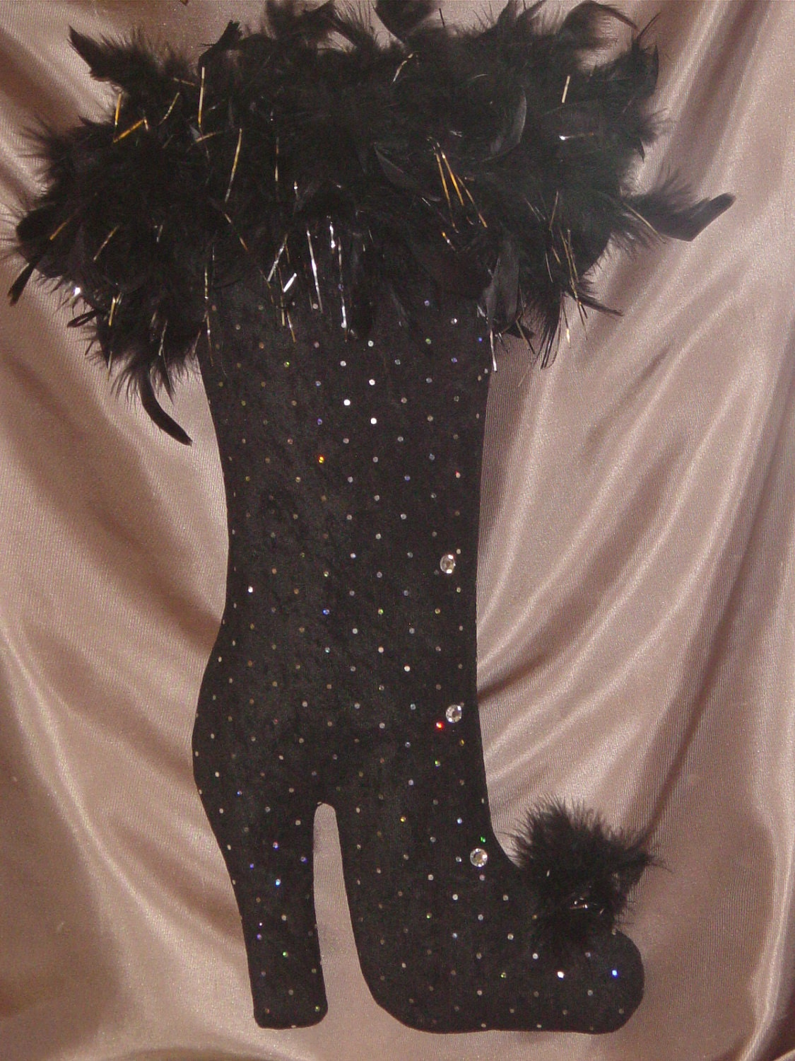 Designer High Heel Christmas Stocking In Black By