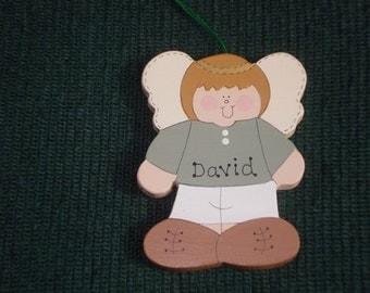 Personalized Wood Christmas Ornament - Angel Boy