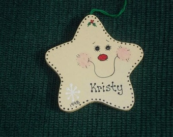 Personalized Wood Christmas Ornament - Star