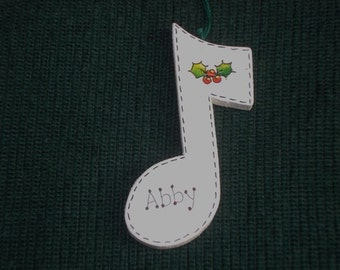 Personalized Wood Christmas Ornament - Music Note